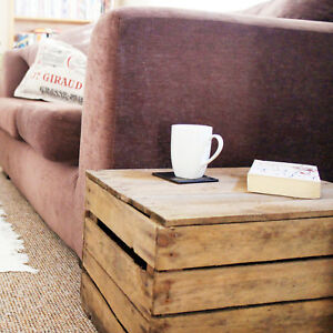 details about rustic ottoman wooden storage box or side table vintage apple crate with lid