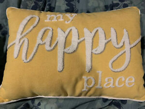 details about throw pillow my happy place decorative 14 in x 20 in soft chenille yellow
