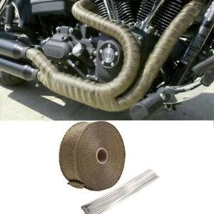 detalles acerca de exhaust header pipe heat wrap insulation shield 5m tape thermal wrap repair tool