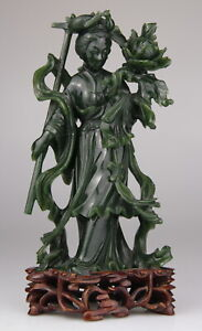 Antique Chinese Carved Spinach Jade Kwanyin Lady Statue Wood Stand 19th C.