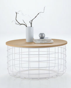 details about contemporary modern design white wire natural oak round coffee table