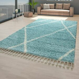 details sur tapis turquoise salon poils longs motif scandinave design losanges doux shaggy