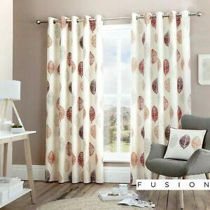 details sur 100 coton fusion skandi feuille rouge orange gris rideaux doubles ou coussins afficher le titre d origine
