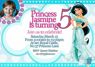 personalized birthday party invitations disney princess jasmine 8 invites set 7434951077041 ebay