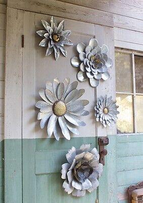 5 Galvanized Metal Flower Wall Art Sculptures Indoor ... on Backyard Metal Art id=67241