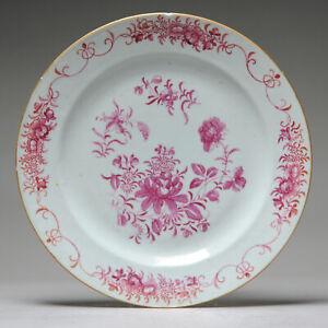 Antique 18C Famille Rose Pink Dish Chine de Commande Flower Sprays