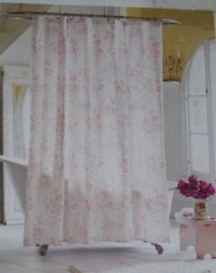 details about simply shabby chic shower curtain pink floral roses french country cottage beach