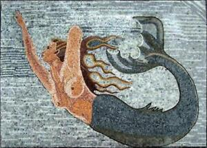 details about mermaid mosaic art mosaic kitchen wall art marine life nautical tile