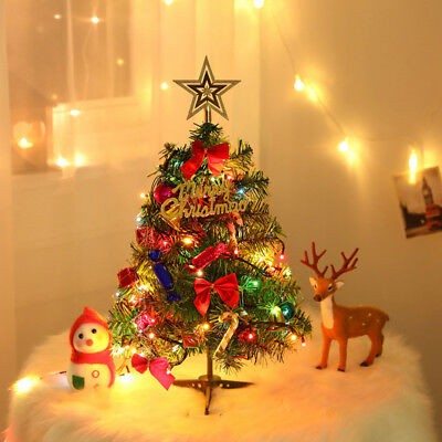 Uk Tabletop Artificial Small Mini Christmas Tree With Led Lights Ornaments Xmas Ebay