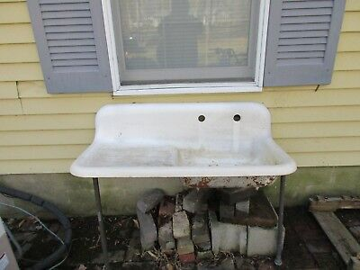 antique kitchen farm sink w drainboard circa 1930 ebay