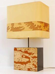 details sur chic importante lampe d ambiance pied en liege 1970 vintage 70 s cork lamp
