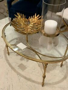 details about mid century modern xl 40 aged gold leaf iron glass top oval coffee table