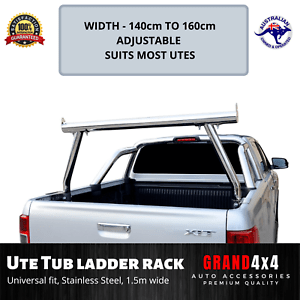 details about universal stainless steel heavy duty adjustable ute tub ladder rack roll bar