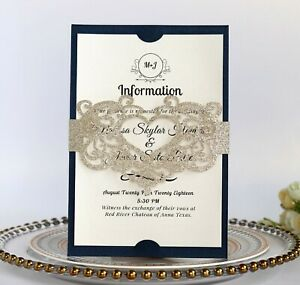 Details About Glitter Laser Cut Hollow European Girdle Wedding Invitation Card With Envelopes