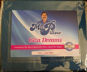 details about my pillow giza dreams twin sheet set lake blue