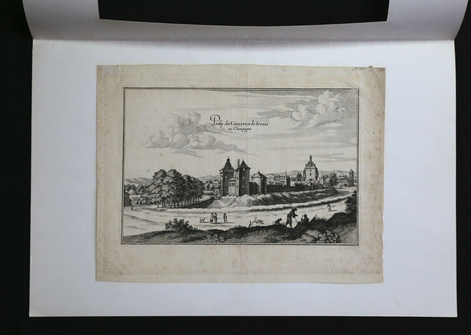 Etching of 17e Century Representative Property of Castle Irrois in Champagne