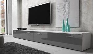 details sur meuble tv armoire bas boston 300 cm corps blanc mat avant gris brillant