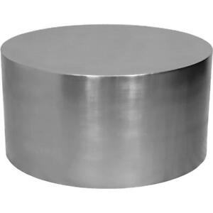 details about meridian furniture cylinder round brushed chrome metal coffee table