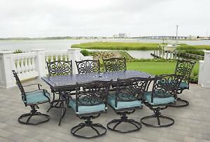 details about 9 piece dining set large table swivel chairs outdoor patio garden furniture blue