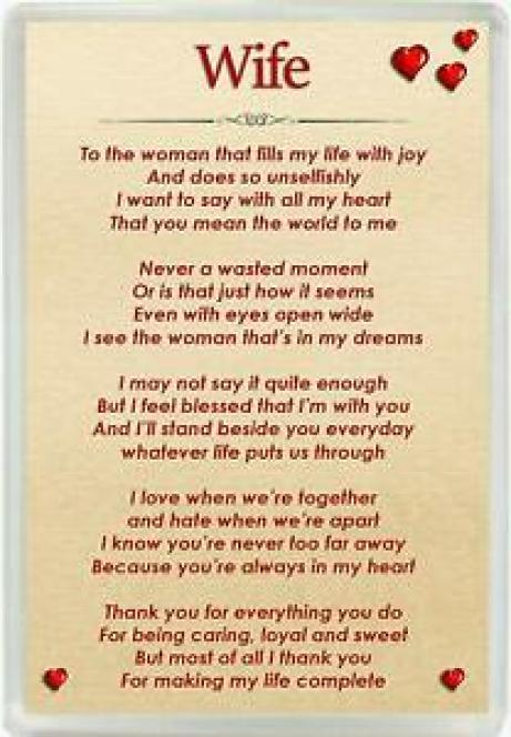 Wife Poem Jumbo Magnet Ideal Birthday & Valentines Keepsake Gift M160 | eBay