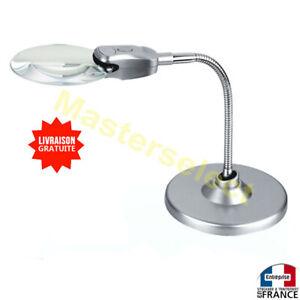details sur loupe flexible sur pied pour table 90mm avec lampe a 2 leds pas cher