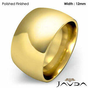 Huge Women 12mm Gold Ring 14k Yellow Plain Dome Wedding