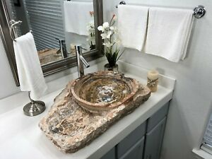 details about natural stone bathroom vessel sink rustic red travertine stone beautiful
