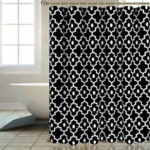 details about extra long 84 geometric black white farmhouse textured fabric shower curtain
