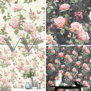 details sur rasch portfolio vintage classic rose papier peint fleurs feuilles papillons afficher le titre d origine