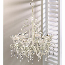 Candle Holder Crystal Blooms Hanging Tealight Or Votive Chandelier New