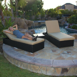 details about adjustable pool chaise lounge chair outdoor patio furniture pe wicker w cushion