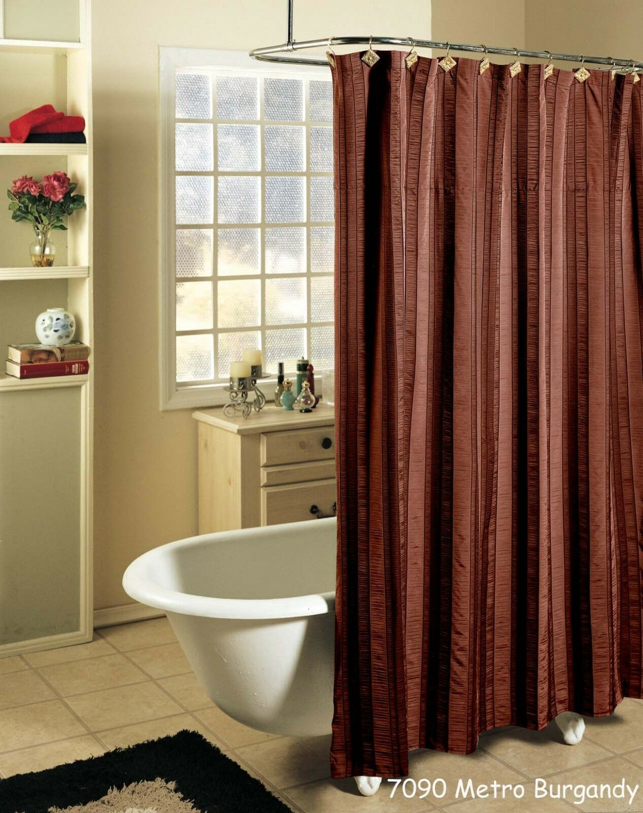 Metro Stripe Fabric Shower Curtain Burgundy With Black Holiday Creative Linens For Sale Online