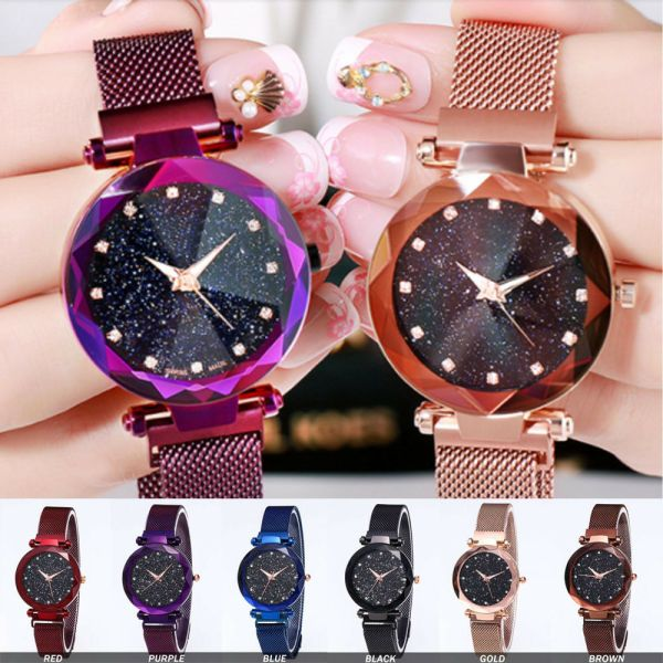 Luxury Starry Sky Masonry Watch Magnet Strap Buckle Stainless Watch Women Gift
