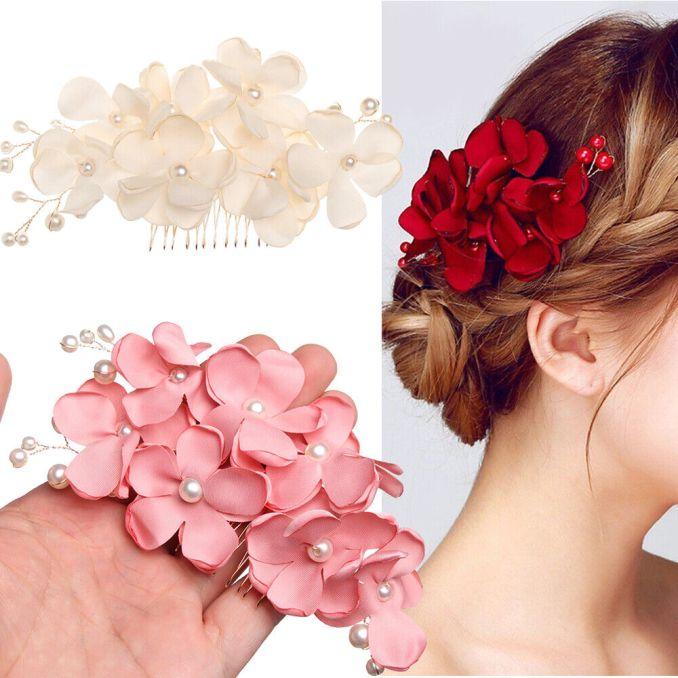 bridal wedding bridesmaid red/pink/champagne flower hair