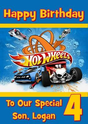 hot wheels personalised birthday card any name age relation ebay