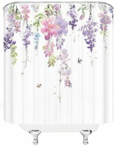 details about pink purple green wisteria floral french country fabric shower curtain