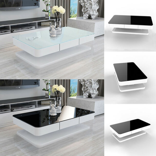 Modern High Gloss Black Glass Top Drop Round Coffee Table Office Home Furniture For Sale Ebay
