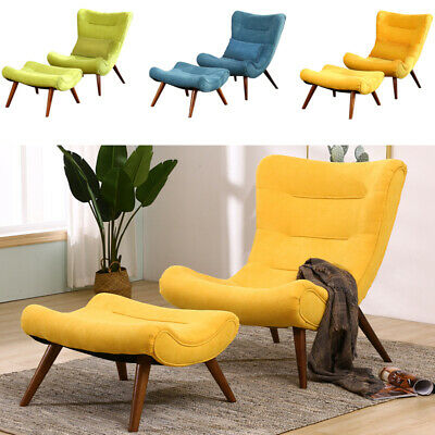 upholstered arched high back lounge chair recliner armchair and footstool fabric ebay