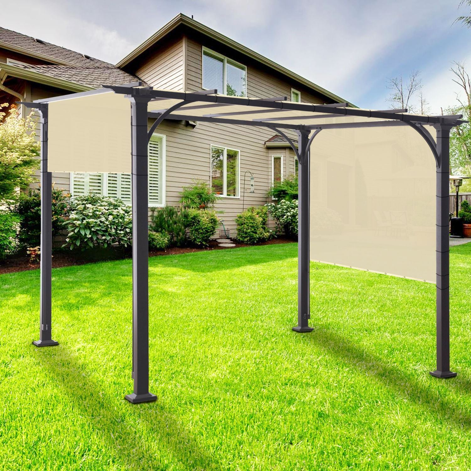 5 ft waterproof straight side hemmed sun shade sail canopy awning patio cover
