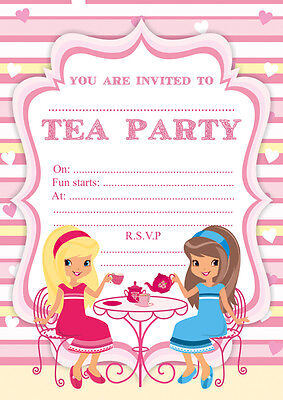 10 x children afternoon tea birthday party invitations ebay