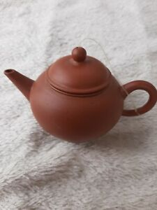 CHINESE SMALL TERRACOTTA TEAPOT FOR ONE. STAMPED MARK TO BASE. VGC.