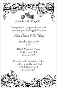 Details About 30 50 100 Motorcycle B W Harley Born Ride Personalized Wedding Invitation