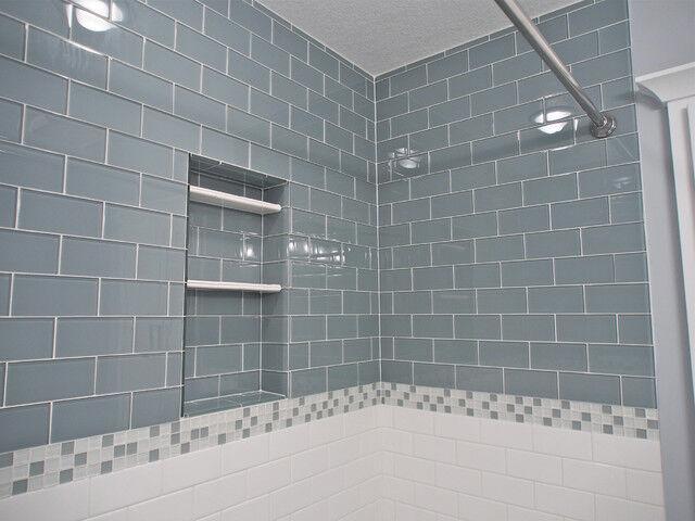 blue glass subway tile backsplash