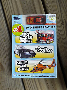 DVD Big Red Fire Engines, The Police and Search & Rescue + COLLECTIBLE TOY New