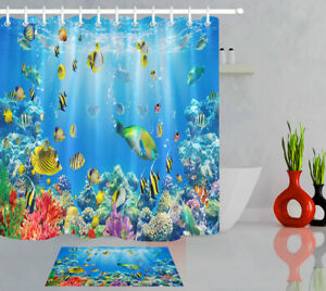 details about tropical fish underwater world bathroom rug waterproof fabric shower curtain set