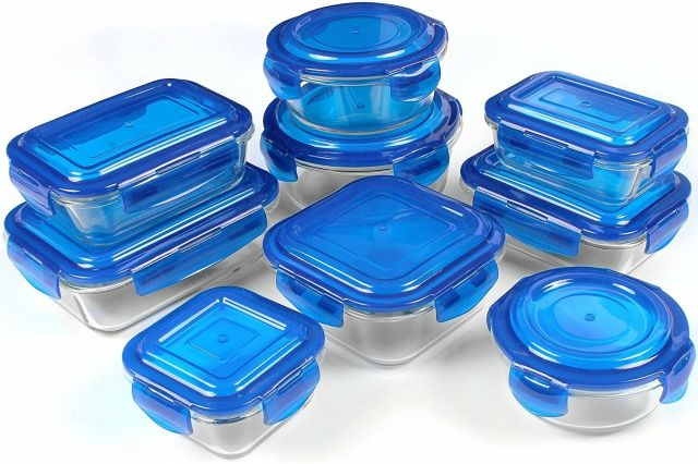 Glass Storage Container Set, Blue, 18 Piece -FDA Approved -Reusable -Utopia 2