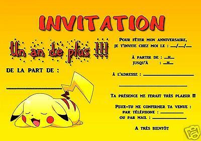 5 ou 12 cartes invitation anniversaire pokemon ref 291 ebay