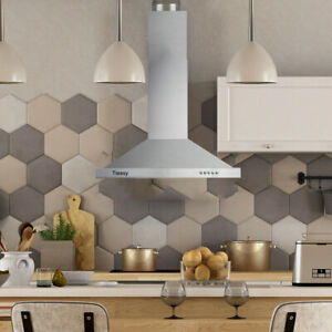 details about tieasy wall mount range hood 30 inch 350 cfm ducted kitchen exhaust vent 3 speed