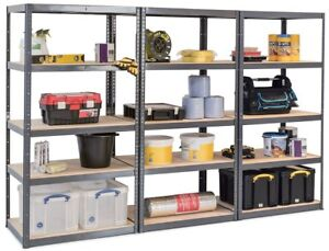 details sur paquet de 3 resistant gris etagere rangement garage magasin warehouse soutirage
