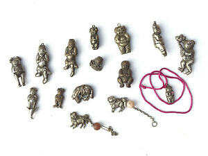 x15 Antique Chinese Silver Deity Bell Charms - Lot 29